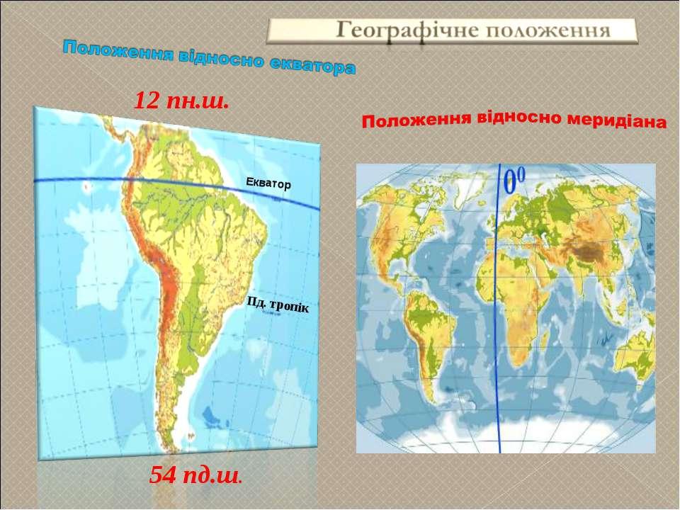 Екватор 12 пн.ш. 54 пд.ш. Пд. тропік