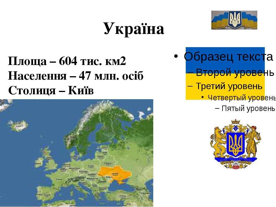 Україна Площа – 604 тис. км2 Населення – 47 млн. осіб Столиця – Київ
