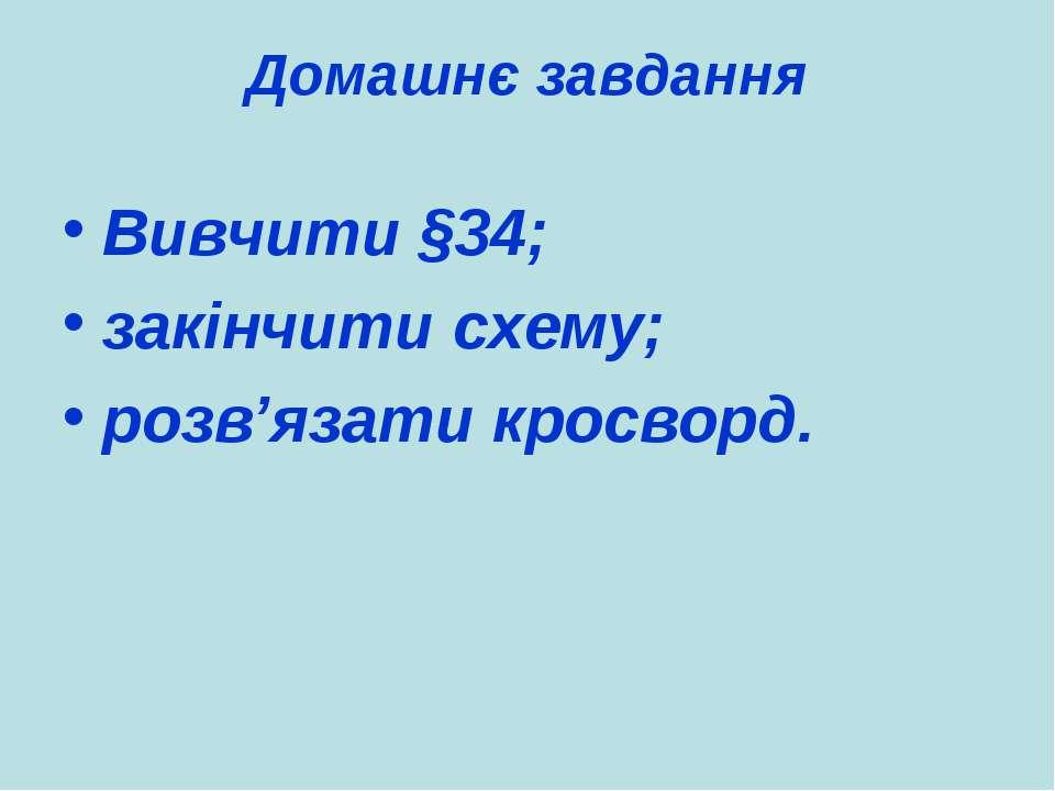 Домашнє завдання Вивчити §34; закінчити схему; розв'язати кросворд.