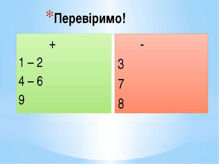Перевіримо! + 1 – 2 4 – 6 9