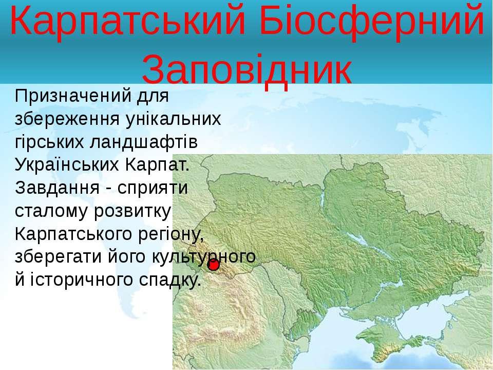 Карпатський Біосферний Заповідник Призначений для збереження унікальних гірсь...