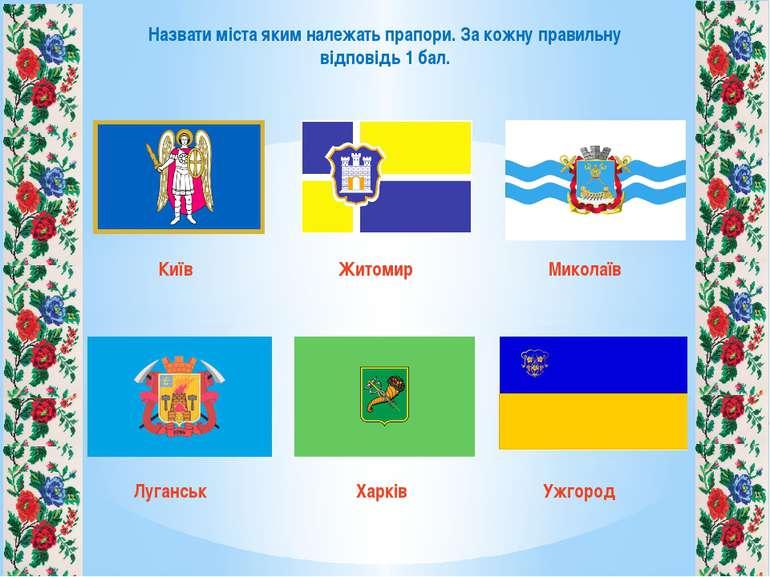 Назвати міста яким належать прапори. За кожну правильну відповідь 1 бал. Київ...