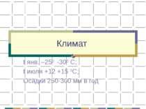 Климат t янв. –250 -300 С; t июля +12 +15 0С; Осадки 250-300 мм в год