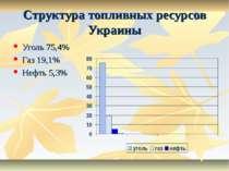* * Структура топливных ресурсов Украины Уголь 75,4% Газ 19,1% Нефть 5,3%