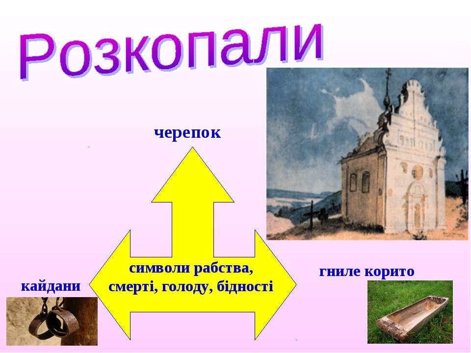 кайдани черепок гниле корито символи рабства, смерті, голоду, бідності