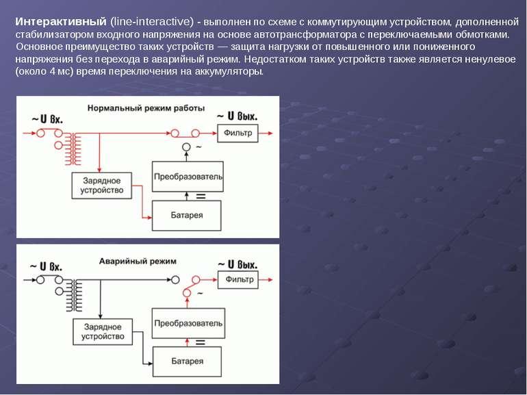 Интерактивный (line-interactive) - выполнен по схеме с коммутирующим устройст...