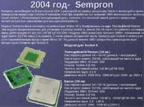 2004 год- Sempron Sempron, низкобюджетный настольный ЦПУ, пришедший на замену...