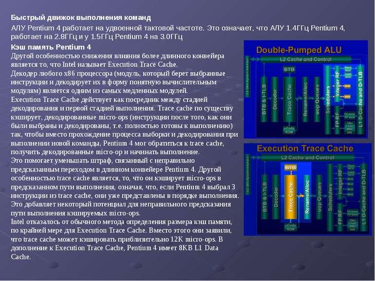 Быстрый движок выполнения команд АЛУ Pentium 4 работает на удвоенной тактовой...