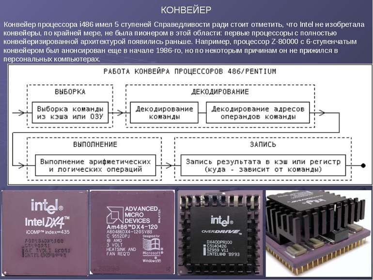 КОНВЕЙЕР Конвейер процессора i486 имел 5 ступеней Справедливости ради стоит о...