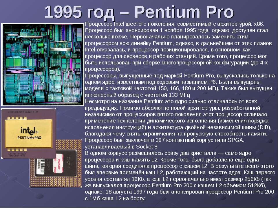 1995 год – Pentium Pro Процессор Intel шестого поколения, совместимый с архит...