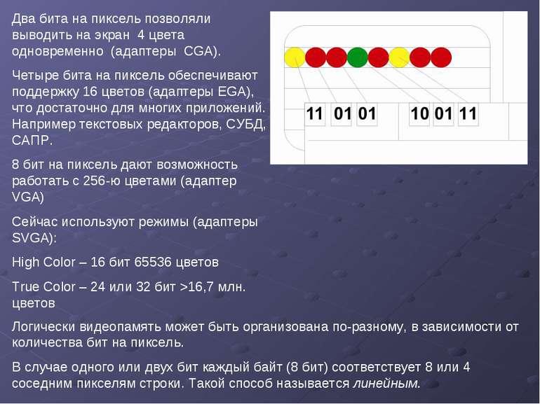 Два бита на пиксель позволяли выводить на экран 4 цвета одновременно (адаптер...