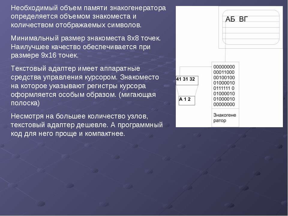 Необходимый объем памяти знакогенератора определяется объемом знакоместа и ко...