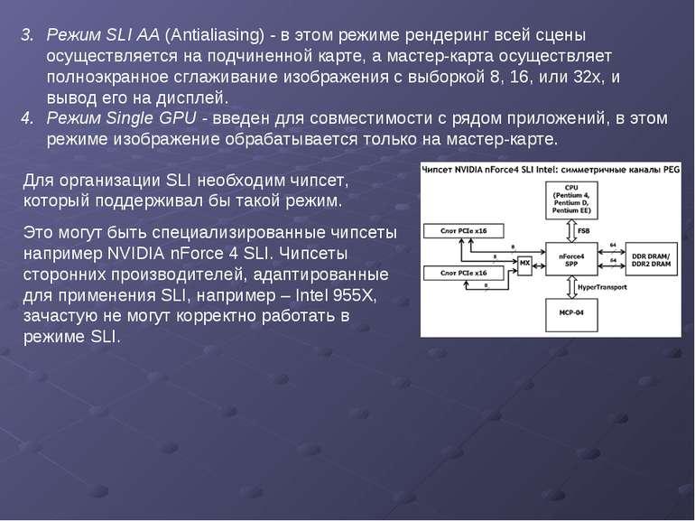 Режим SLI AA (Antialiasing) - в этом режиме рендеринг всей сцены осуществляет...