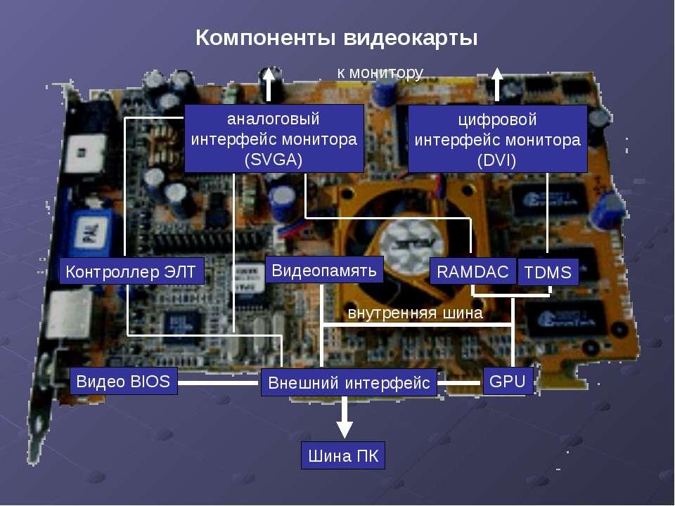 Компоненты видеокарты Внешний интерфейс Видео BIOS GPU Видеопамять RAMDAC TDM...