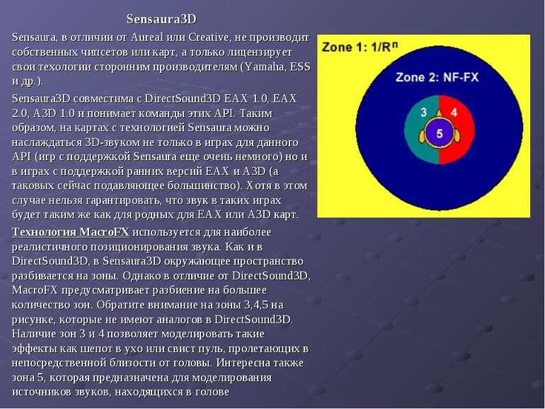 Sensaura3D Sensaura, в отличии от Aureal или Creative, не производит собствен...