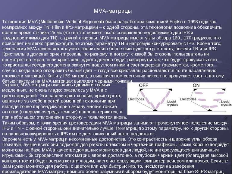 Технология MVA (Multidomain Vertical Alignment) была разработана компанией Fu...