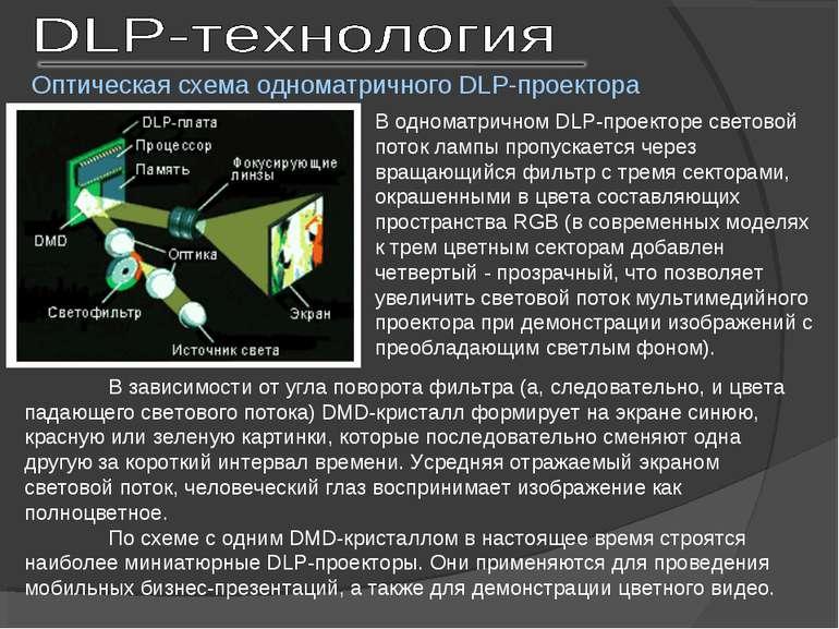 Оптическая схема одноматричного DLP-проектора В одноматричном DLP-проекторе с...