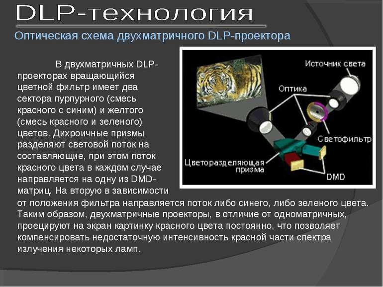 В двухматричных DLP-проекторах вращающийся цветной фильтр имеет два сектора п...