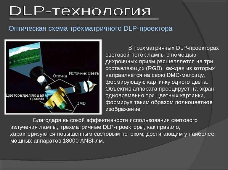 В трехматричных DLP-проекторах световой поток лампы с помощью дихроичных приз...