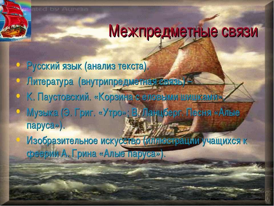Межпредметные связи Русский язык (анализ текста). Литература (внутрипредметна...