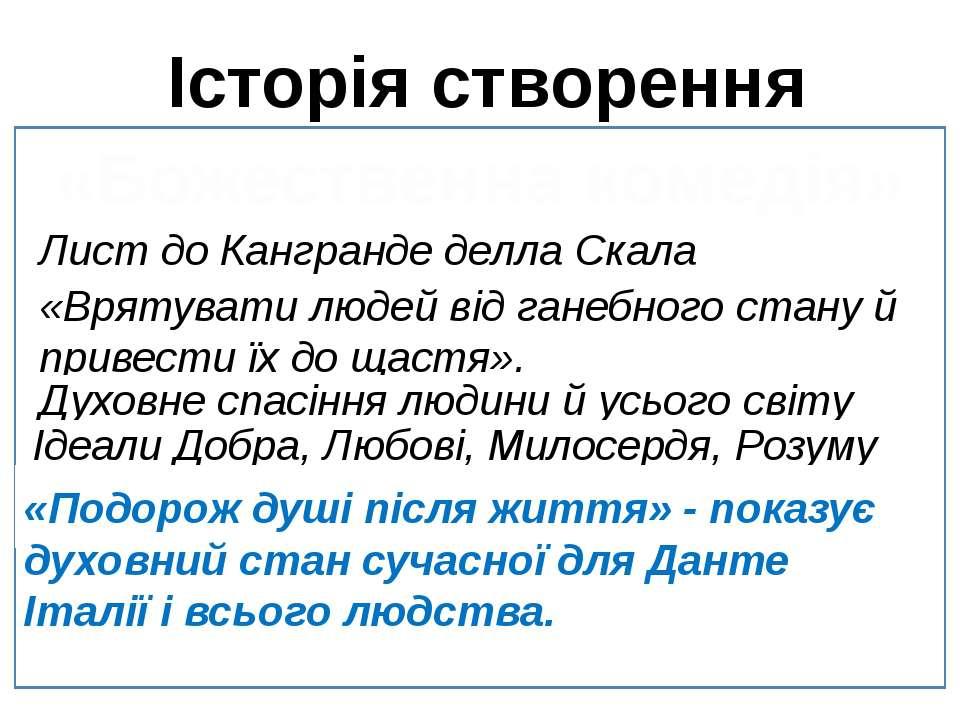 Історія створення «Божественна комедія» Лист до Кангранде делла Скала «Врятув...