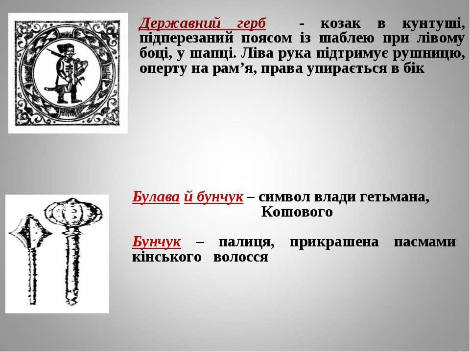 Державний герб - козак в кунтуші, підперезаний поясом із шаблею при лівому бо...