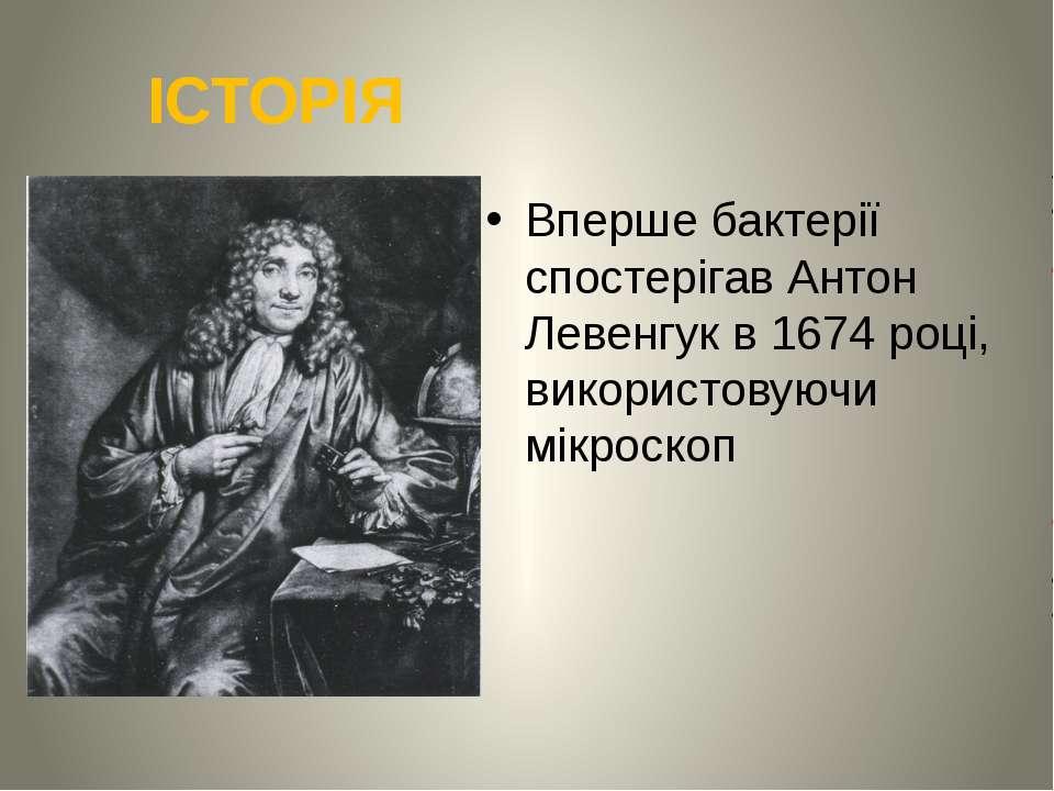 ІСТОРІЯ Вперше бактерії спостерігав Антон Левенгук в 1674 році, використовуюч...