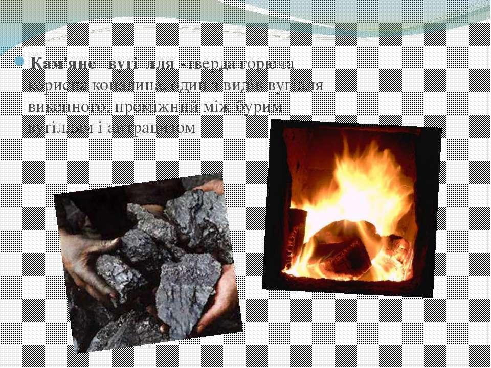 Кам'яне вугі лля -тверда горюча корисна копалина, один з видів вугілля викопн...