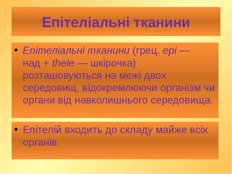 Епітеліальні тканини Епітеліальні тканини (грец. epi— над+ thele— шкірочка...