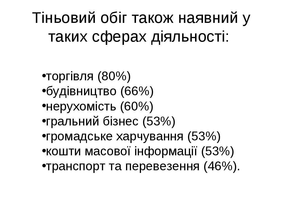 Тіньовий обіг також наявний у таких сферах діяльності: торгівля (80%) будівни...