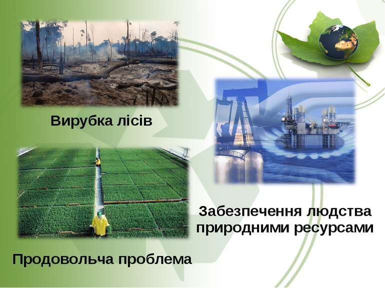 Вирубка лісів Забезпечення людства природними ресурсами Продовольча проблема