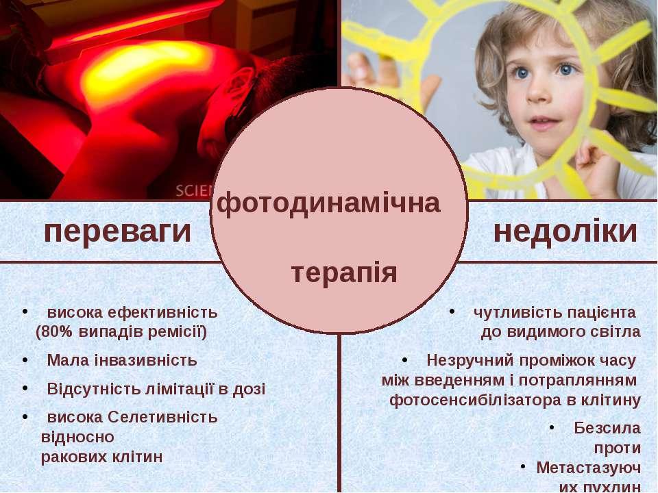 фотодинамічна терапія переваги недоліки висока ефективність (80% випадів ремі...