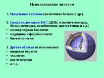 Использование липосом 1. Модельные системы (включение белков и др.). 2. Средс...