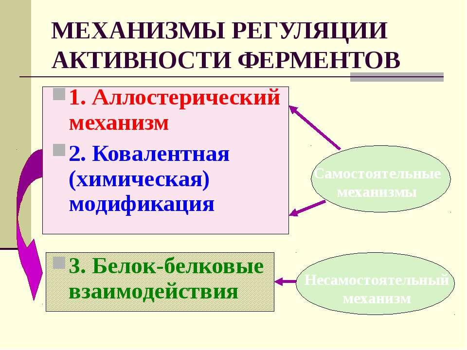 МЕХАНИЗМЫ РЕГУЛЯЦИИ АКТИВНОСТИ ФЕРМЕНТОВ 1. Аллостерический механизм 2. Ковал...
