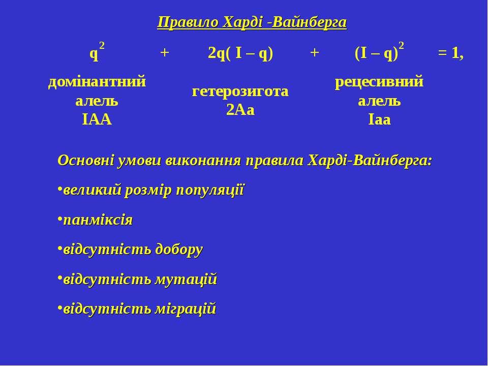 Правило Харді -Вайнберга Основні умови виконання правила Харді-Вайнберга: вел...