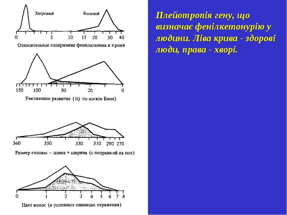 Плейотропія гену, що визначає фенілкетонурію у людини. Ліва крива - здорові л...