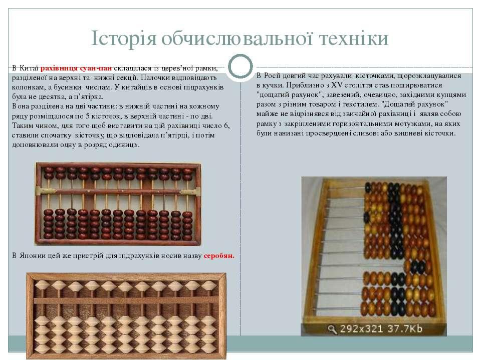 Історія обчислювальної техніки В Китаї рахівниця суан-пан складалася із дерев...