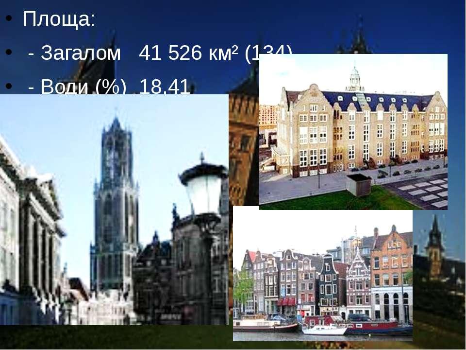 Площа: - Загалом 41 526 км² (134) - Води (%) 18,41