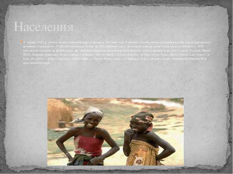 У червні 2012 р. кількість населення Нігерії становила 160 млн осіб. Етнічна ...