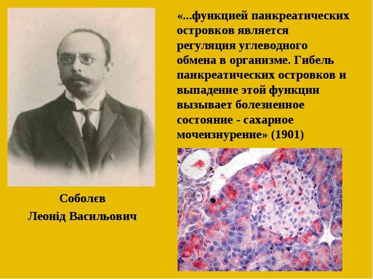 Соболєв Леонід Васильович «...функцией панкреатических островков является рег...