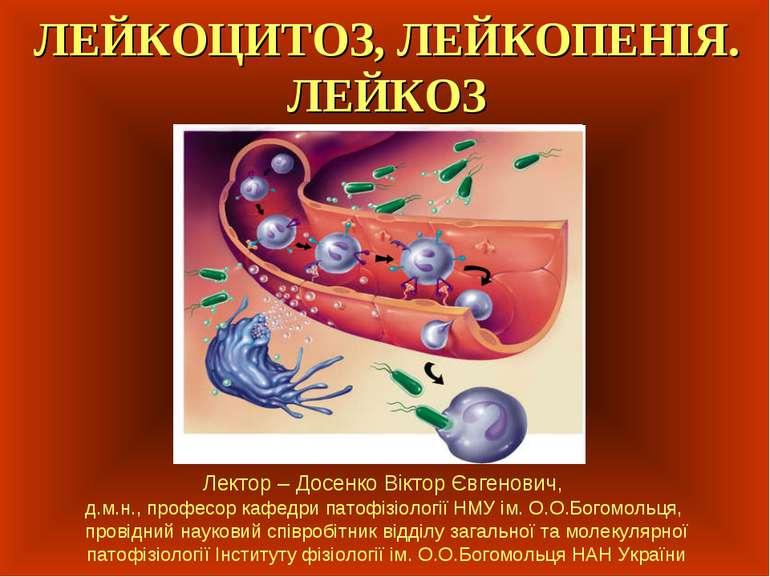 ЛЕЙКОЦИТОЗ, ЛЕЙКОПЕНІЯ. ЛЕЙКОЗ Лектор – Досенко Віктор Євгенович, д.м.н., про...