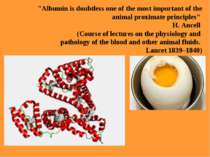 """Albumin is doubtless one of the most important of the animal proximate princ..."