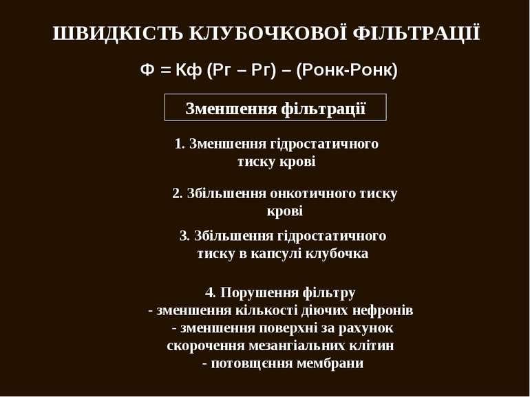 ШВИДКІСТЬ КЛУБОЧКОВОЇ ФІЛЬТРАЦІЇ Ф = Кф (Рг – Рг) – (Ронк-Ронк) Зменшення філ...
