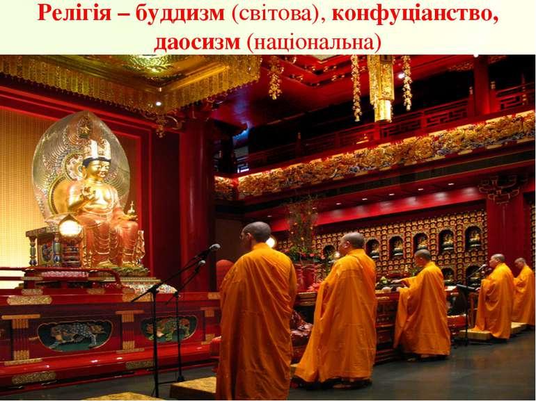 Релігія – буддизм (світова), конфуціанство, даосизм (національна)
