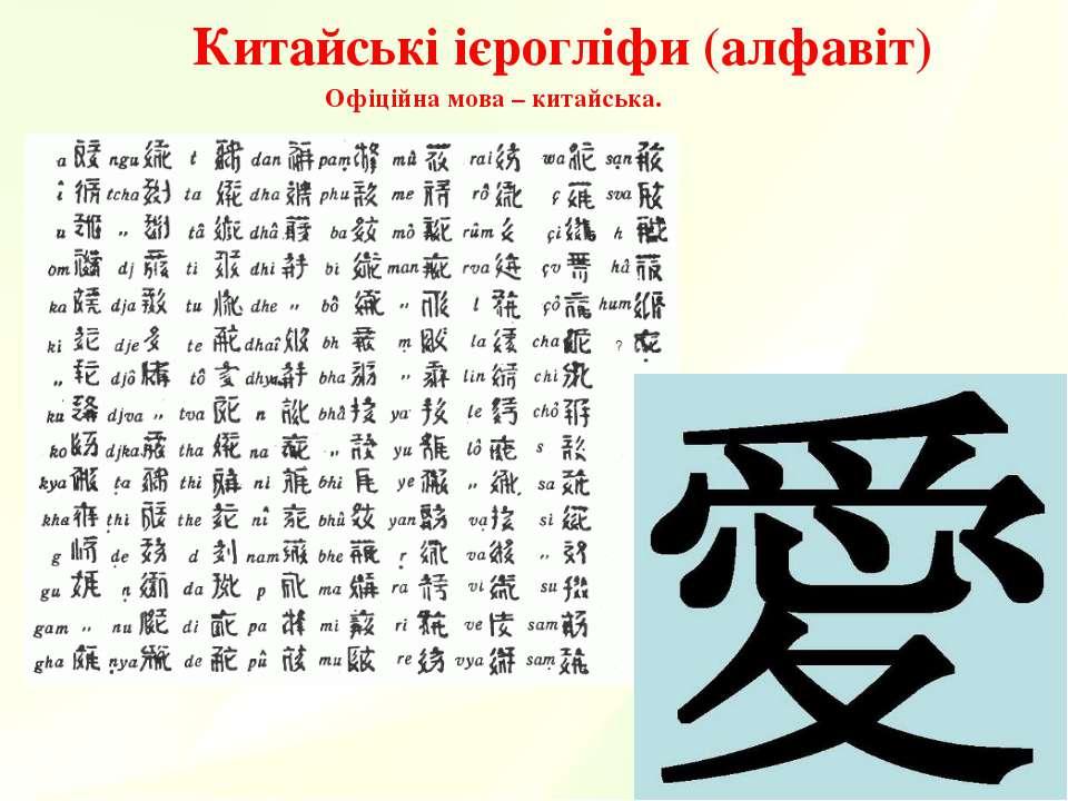Китайські ієрогліфи (алфавіт) Офіційна мова – китайська.