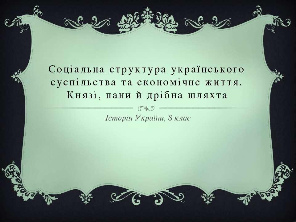 Соціальна структура українського суспільства та економічне життя. Князі, пани...