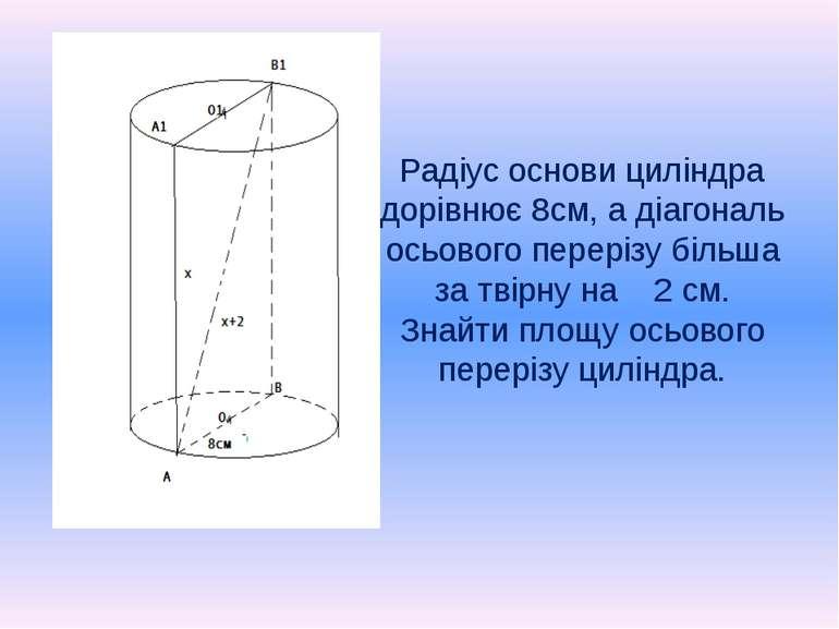 Радіус основи циліндра дорівнює 8см, а діагональ осьового перерізу більша за ...