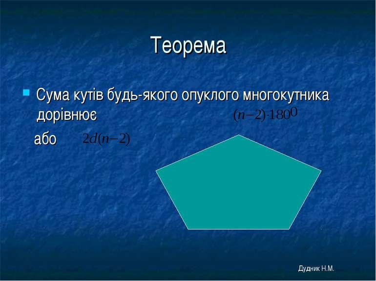 Теорема Сума кутів будь-якого опуклого многокутника дорівнює або Дудник Н.М.