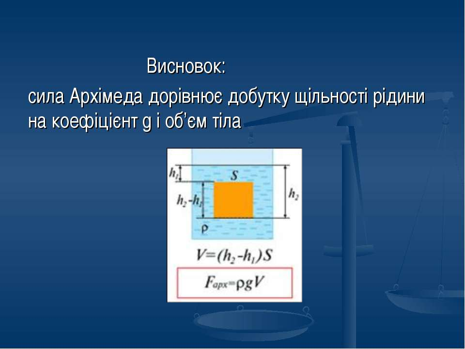 Висновок: сила Архімеда дорівнює добутку щільності рідини на коефіцієнт g і о...