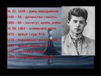 06. 01. 1938 – день народження 1940 – 54 – дитинство і юність 1950 – 60 – інс...